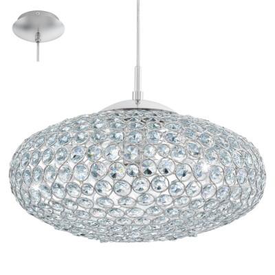 Eglo CLEMENTE 95286 Подвесной светильникОдиночные<br>Подвес CLEMENTE, 1х60W (E27), ?350, cталь, хром/хрусталь, прозрачный применяется преимущественно в домашнем освещении с использованием стандартных выключателей и переключателей для сетей 220V.<br><br>S освещ. до, м2: 3<br>Тип цоколя: E27<br>Количество ламп: 1<br>MAX мощность ламп, Вт: 60<br>Диаметр, мм мм: 350<br>Высота, мм: 1100<br>Цвет арматуры: серебристый хром
