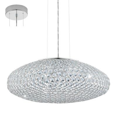 Eglo CLEMENTE 95287 Подвесной светильникПодвесные<br>Подвес CLEMENTE, 3х60W (E27), ?540, cталь, хром/хрусталь, прозрачный применяется преимущественно в домашнем освещении с использованием стандартных выключателей и переключателей для сетей 220V.<br><br>S освещ. до, м2: 9<br>Тип цоколя: E27<br>Количество ламп: 3<br>MAX мощность ламп, Вт: 60<br>Диаметр, мм мм: 540<br>Высота, мм: 1100<br>Цвет арматуры: серебристый хром