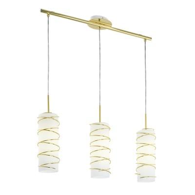 Eglo TARRAGONA 95309 Подвесной светильникТройные<br>Подвес TARRAGONA, 3х60W (E27), L720, cталь, латунь/стекло, сталь, белый, латунь применяется преимущественно в домашнем освещении с использованием стандартных выключателей и переключателей для сетей 220V.<br><br>Тип цоколя: E27<br>Количество ламп: 3<br>Ширина, мм: 110<br>MAX мощность ламп, Вт: 60<br>Длина, мм: 720<br>Высота, мм: 1100<br>Цвет арматуры: латунь