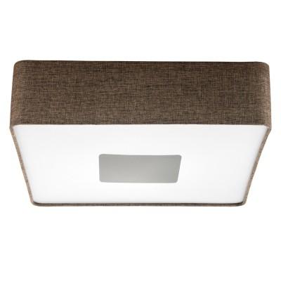 Eglo TACUBA 95321 Настенно-потолочный светильник LEDлюстры потолочные в японском стиле<br>Светодиодный потолочный светильник TACUBA с димм., 24W (LED), 500х500, сталь, пластик, белый/текстиль, коричневый применяется преимущественно в домашнем освещении с использованием стандартных выключателей и переключателей для сетей 220V.<br><br>Установка на натяжной потолок: Да<br>S освещ. до, м2: 10<br>Цветовая t, К: 3000<br>Тип лампы: LED - светодиодная<br>Тип цоколя: LED<br>Цвет арматуры: белый<br>Количество ламп: 1<br>Ширина, мм: 500<br>Длина, мм: 500<br>Высота, мм: 150<br>MAX мощность ламп, Вт: 24
