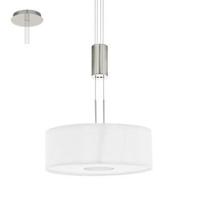 Eglo ROMAO 1 95329 Подвесной светильникОдиночные<br>Светодиодный подвес ROMAO 1 с регулир. высоты и димм., 15,5W (LED), ?380, сталь, никель мат., хром/текстиль, белый применяется преимущественно в домашнем освещении с использованием стандартных выключателей и переключателей для сетей 220V.<br><br>Тип товара: Подвесной светильник<br>Цветовая t, К: 3000<br>Тип лампы: LED - светодиодная<br>Тип цоколя: LED<br>Количество ламп: 1<br>MAX мощность ламп, Вт: 16<br>Диаметр, мм мм: 380<br>Высота, мм: 1100<br>Цвет арматуры: серебристый никель, хром