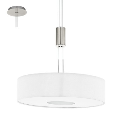 Eglo ROMAO 1 95331 Подвесной светильникОдиночные<br>Светодиодный подвес ROMAO 1 с регулир. высоты и димм., 24W (LED), ?530, сталь, никель мат., хром/текстиль, белый применяется преимущественно в домашнем освещении с использованием стандартных выключателей и переключателей для сетей 220V.<br><br>S освещ. до, м2: 10<br>Цветовая t, К: 3000<br>Тип лампы: LED - светодиодная<br>Тип цоколя: LED<br>Количество ламп: 1<br>MAX мощность ламп, Вт: 24<br>Диаметр, мм мм: 530<br>Высота, мм: 1100<br>Цвет арматуры: серебристый никель, хром