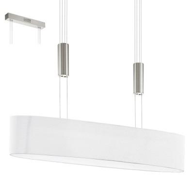 Eglo ROMAO 1 95332 Подвесной светильникДлинные 4+<br>Светодиодный подвес ROMAO 1 с регулир. высоты и димм., 4х4W (LED), 750х170, сталь, никель мат., хром/текстиль, белый применяется преимущественно в домашнем освещении с использованием стандартных выключателей и переключателей для сетей 220V.<br><br>S освещ. до, м2: 6<br>Цветовая t, К: 3000<br>Тип лампы: LED - светодиодная<br>Тип цоколя: LED<br>Цвет арматуры: серебристый никель, хром<br>Количество ламп: 4<br>Ширина, мм: 170<br>Длина, мм: 750<br>Высота, мм: 1100<br>MAX мощность ламп, Вт: 4