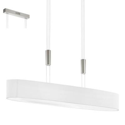 Eglo ROMAO 1 95333 Подвесной светильникДлинные 4+<br>Светодиодный подвес ROMAO 1 с регулир. высоты и димм., 6х4W (LED), 1050х190, сталь, никель мат., хром/текстиль, белый применяется преимущественно в домашнем освещении с использованием стандартных выключателей и переключателей для сетей 220V.<br><br>S освещ. до, м2: 10<br>Цветовая t, К: 3000<br>Тип лампы: LED - светодиодная<br>Тип цоколя: LED<br>Количество ламп: 6<br>Ширина, мм: 190<br>MAX мощность ламп, Вт: 4<br>Длина, мм: 1050<br>Высота, мм: 1100<br>Цвет арматуры: серебристый никель, хром