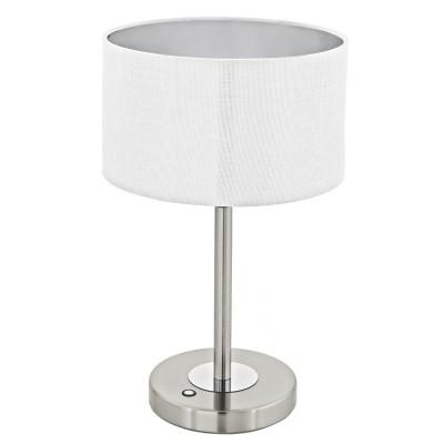 Eglo ROMAO 1 95334 Настольная лампаСовременные<br>Светодиодный настольная лампа ROMAO 1 с сенсор. диммером, 12W (LED), H445, сталь, никель мат., хром/текстиль, белый применяется преимущественно в домашнем освещении с использованием стандартных выключателей и переключателей для сетей 220V.<br><br>Цветовая t, К: 3000<br>Тип лампы: LED - светодиодная<br>Тип цоколя: LED<br>Цвет арматуры: серебристый, хром<br>Количество ламп: 1<br>Диаметр, мм мм: 280<br>Высота, мм: 445<br>MAX мощность ламп, Вт: 12