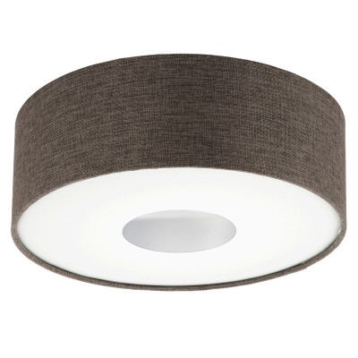 Eglo ROMAO 2 95336 Настенно-потолочный светильник LEDПотолочные<br>Светодиодный потолочный светильник ROMAO 2 с димм., 15,5W (LED), ?350, сталь, никель мат., хром/текстиль, коричневый применяется преимущественно в домашнем освещении с использованием стандартных выключателей и переключателей для сетей 220V.<br><br>Установка на натяжной потолок: Да<br>S освещ. до, м2: 6<br>Цветовая t, К: 3000<br>Тип лампы: LED - светодиодная<br>Тип цоколя: LED<br>Цвет арматуры: белый<br>Количество ламп: 1<br>Диаметр, мм мм: 350<br>Высота, мм: 150<br>MAX мощность ламп, Вт: 16