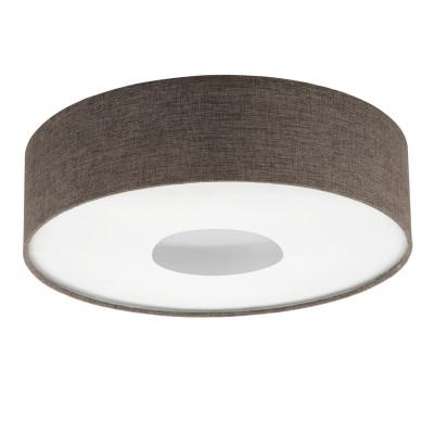 Eglo ROMAO 2 95337 Настенно-потолочный светильник LEDКруглые<br>Светодиодный потолочный светильник ROMAO 2 с димм., 24W (LED), ?500, сталь, никель мат., хром/текстиль, коричневый применяется преимущественно в домашнем освещении с использованием стандартных выключателей и переключателей для сетей 220V.<br><br>S освещ. до, м2: 10<br>Цветовая t, К: 3000<br>Тип лампы: LED - светодиодная<br>Тип цоколя: LED<br>Цвет арматуры: белый<br>Количество ламп: 1<br>Диаметр, мм мм: 500<br>Высота, мм: 160<br>MAX мощность ламп, Вт: 24