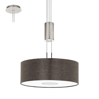 Eglo ROMAO 2 95338 Подвесной светильникОдиночные<br>Светодиодный подвес ROMAO 2 с регулир. высоты и димм., 15,5W (LED), ?380,сталь, никель мат., хром/текстиль, коричневый применяется преимущественно в домашнем освещении с использованием стандартных выключателей и переключателей для сетей 220V.<br><br>S освещ. до, м2: 6<br>Цветовая t, К: 3000<br>Тип лампы: LED - светодиодная<br>Тип цоколя: LED<br>Количество ламп: 1<br>MAX мощность ламп, Вт: 16<br>Диаметр, мм мм: 380<br>Высота, мм: 1100<br>Цвет арматуры: серебристый никель, хром