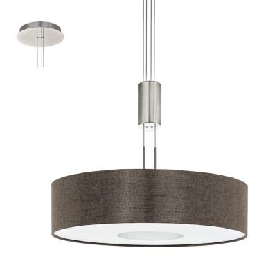 Eglo ROMAO 2 95339 Подвесной светильникОдиночные<br>Светодиодный подвес ROMAO 2 с регулир. высоты и димм., 24W (LED), ?530, сталь, никель мат., хром/текстиль, коричневый применяется преимущественно в домашнем освещении с использованием стандартных выключателей и переключателей для сетей 220V.<br><br>S освещ. до, м2: 10<br>Цветовая t, К: 3000<br>Тип лампы: LED - светодиодная<br>Тип цоколя: LED<br>Количество ламп: 1<br>MAX мощность ламп, Вт: 24<br>Диаметр, мм мм: 530<br>Высота, мм: 1100<br>Цвет арматуры: серебристый никель, хром