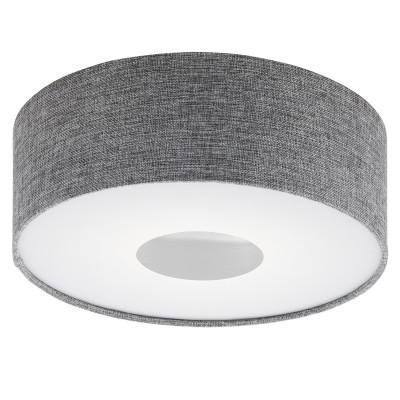 Настенно-потолочный светильник LED Eglo 95345 ROMAOлюстры потолочные в японском стиле<br>Светодиодный потолочный светильник ROMAO с димм., 15,5W (LED), ?350, сталь, никель мат., хром/текстиль, серый применяется преимущественно в домашнем освещении с использованием стандартных выключателей и переключателей для сетей 220V.