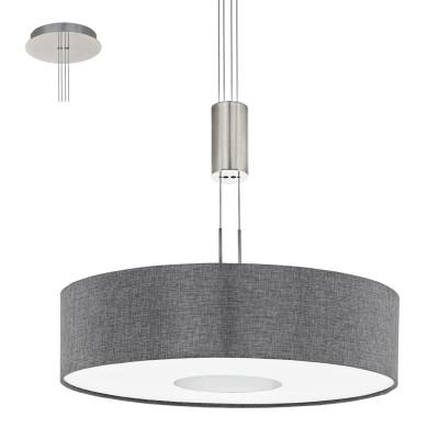Eglo ROMAO 95348 Подвесной светильникОдиночные<br>Светодиодный подвес ROMAO с регулир. высоты и димм., 24W (LED), ?530, сталь, никель мат., хром/текстиль, серый применяется преимущественно в домашнем освещении с использованием стандартных выключателей и переключателей для сетей 220V.<br><br>S освещ. до, м2: 10<br>Цветовая t, К: 3000<br>Тип лампы: LED - светодиодная<br>Тип цоколя: LED<br>Количество ламп: 1<br>MAX мощность ламп, Вт: 24<br>Диаметр, мм мм: 530<br>Высота, мм: 1100<br>Цвет арматуры: серебристый никель, хром