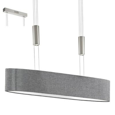 Eglo ROMAO 95349 Подвесной светильникДлинные 4+<br>Светодиодный подвес ROMAO с регулир. высоты и димм., 4х4W (LED), 750х170, сталь, никель мат., хром/текстиль, серый применяется преимущественно в домашнем освещении с использованием стандартных выключателей и переключателей для сетей 220V.<br><br>S освещ. до, м2: 6<br>Цветовая t, К: 3000<br>Тип лампы: LED - светодиодная<br>Тип цоколя: LED<br>Цвет арматуры: серебристый никель, хром<br>Количество ламп: 4<br>Ширина, мм: 170<br>Длина, мм: 750<br>Высота, мм: 1100<br>MAX мощность ламп, Вт: 4
