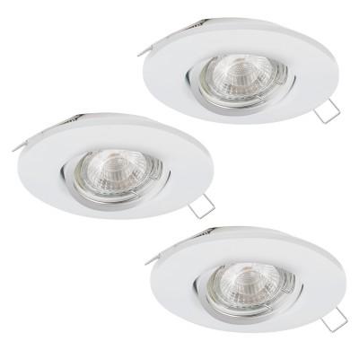Eglo TEDO 1 95357 Встраиваемый светильникКруглые LED<br>Комплект Светодиодный встраив. светильников TEDO регулир. с димм., 3х5W(GU10), ?80, алюминий, белый применяется преимущественно в домашнем освещении с использованием стандартных выключателей и переключателей для сетей 220V.<br><br>Тип лампы: LED - светодиодная<br>Тип цоколя: GU10<br>Количество ламп: 3<br>MAX мощность ламп, Вт: 5<br>Диаметр, мм мм: 80<br>Цвет арматуры: белый