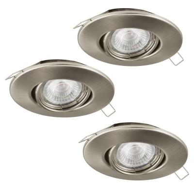 Eglo TEDO 1 95359 Встраиваемый светильникКруглые LED<br>Комплект Светодиодный встраив. светильников TEDO регулир., с димм., 3х5W(GU10), ?80, алюминий, никель матовый применяется преимущественно в домашнем освещении с использованием стандартных выключателей и переключателей для сетей 220V.<br><br>Тип лампы: LED - светодиодная<br>Тип цоколя: GU10<br>Количество ламп: 3<br>MAX мощность ламп, Вт: 5<br>Диаметр, мм мм: 80<br>Цвет арматуры: серебристый