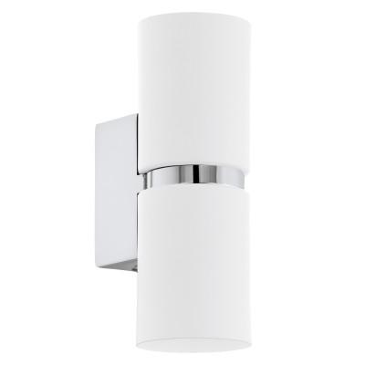 Eglo PASSA 95368 Настенно-потолочный светильникМодерн<br>Светодиодное бра PASSA, 2х3,3W(GU10), L60, H170, сталь, хром, белый применяется преимущественно в домашнем освещении с использованием стандартных выключателей и переключателей для сетей 220V.<br><br>Тип лампы: LED - светодиодная<br>Тип цоколя: GU10<br>Количество ламп: 2<br>MAX мощность ламп, Вт: 4<br>Глубина, мм: 85<br>Длина, мм: 60<br>Высота, мм: 170<br>Цвет арматуры: серебристый хром