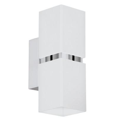 Eglo PASSA 95377 Настенно-потолочный светильникХай-тек<br>Светодиодное бра PASSA, 2х3,3W(GU10), L55, H170, сталь, хром, белый применяется преимущественно в домашнем освещении с использованием стандартных выключателей и переключателей для сетей 220V.<br><br>Тип лампы: LED - светодиодная<br>Тип цоколя: GU10<br>Количество ламп: 2<br>MAX мощность ламп, Вт: 4<br>Глубина, мм: 85<br>Длина, мм: 55<br>Высота, мм: 170<br>Цвет арматуры: серебристый хром