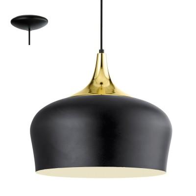 Eglo OBREGON 95382 Подвесной светильникОдиночные<br>Подвес OBREGON, 1х60W(E27), ?350, сталь, черный, кремовый, латунь применяется преимущественно в домашнем освещении с использованием стандартных выключателей и переключателей для сетей 220V.<br><br>S освещ. до, м2: 3<br>Тип цоколя: E27<br>Количество ламп: 1<br>MAX мощность ламп, Вт: 60<br>Диаметр, мм мм: 350<br>Высота, мм: 1100<br>Цвет арматуры: черный, кремовый, латунь