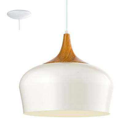 Eglo OBREGON 95383 Подвесной светильникОдиночные<br>Подвес OBREGON, 1х60W(E27), ?350, сталь, кремовый, дуб применяется преимущественно в домашнем освещении с использованием стандартных выключателей и переключателей для сетей 220V.<br><br>S освещ. до, м2: 3<br>Тип цоколя: E27<br>Цвет арматуры: белый, дуб<br>Количество ламп: 1<br>Диаметр, мм мм: 350<br>Высота, мм: 1100<br>MAX мощность ламп, Вт: 60