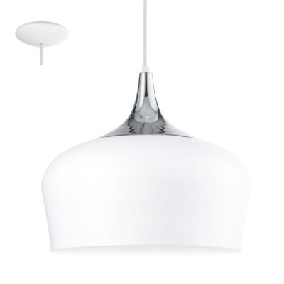 Eglo OBREGON 95384 Подвесной светильникОдиночные<br>Подвес OBREGON, 1х60W(E27), ?350, сталь, белый, хром применяется преимущественно в домашнем освещении с использованием стандартных выключателей и переключателей для сетей 220V.<br><br>Тип цоколя: E27<br>Количество ламп: 1<br>MAX мощность ламп, Вт: 60<br>Диаметр, мм мм: 350<br>Высота, мм: 1100<br>Цвет арматуры: белый, хром