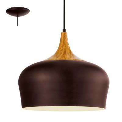 Eglo OBREGON 95385 Подвесной светильникОдиночные<br>Подвес OBREGON, 1х60W(E27), ?350, сталь, коричневый, кремовый, дуб применяется преимущественно в домашнем освещении с использованием стандартных выключателей и переключателей для сетей 220V.<br><br>S освещ. до, м2: 3<br>Тип цоколя: E27<br>Цвет арматуры: коричневый, кремовый, дуб<br>Количество ламп: 1<br>Диаметр, мм мм: 350<br>Высота, мм: 1100<br>MAX мощность ламп, Вт: 60