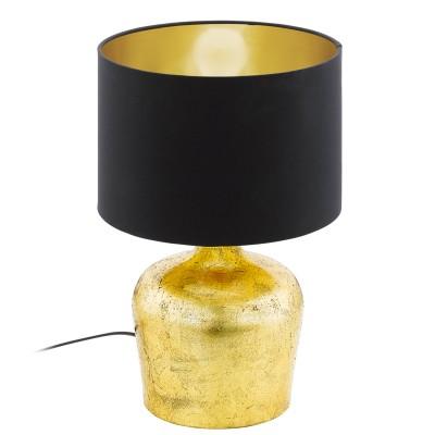 Eglo MANALBA 95386 Настольная лампаСовременные<br>Настольная лампа MANALBA, 1х60W(E27), ?250, H380, сталь, золотой/текстиль, черный, золотой применяется преимущественно в домашнем освещении с использованием стандартных выключателей и переключателей для сетей 220V.<br><br>Тип цоколя: E27<br>Количество ламп: 1<br>MAX мощность ламп, Вт: 60<br>Диаметр, мм мм: 250<br>Высота, мм: 380<br>Цвет арматуры: золотой