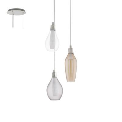 Eglo PONTEVEDRA 95393 Подвесной светильникТройные<br>Светодиодный подвес PONTEVEDRA, 3х2,5W(G9), ?350, сталь, никель матовый/стекло, черный, янтарь, прозрачный применяется преимущественно в домашнем освещении с использованием стандартных выключателей и переключателей для сетей 220V.<br><br>S освещ. до, м2: 4<br>Тип лампы: LED - светодиодная<br>Тип цоколя: G9<br>Цвет арматуры: серебристый никель<br>Количество ламп: 3<br>Диаметр, мм мм: 350<br>Высота, мм: 1100<br>MAX мощность ламп, Вт: 3