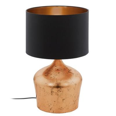 Eglo MANALBA 95396 Настольная лампаСовременные<br>Настольная лампа MANALBA, 1х60W(E27), ?300, H470, сталь, медь/текстиль, черный, медь применяется преимущественно в домашнем освещении с использованием стандартных выключателей и переключателей для сетей 220V.<br><br>Тип цоколя: E27<br>Количество ламп: 1<br>MAX мощность ламп, Вт: 60<br>Диаметр, мм мм: 300<br>Высота, мм: 470<br>Цвет арматуры: медный