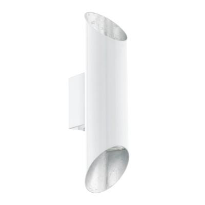 Eglo VIEGAS 95421 Настенно-потолочный светильникСовременные<br>Светодиодное бра VIEGAS, 2х3,3W(GU10), L65, H280, сталь, белый, серебряный применяется преимущественно в домашнем освещении с использованием стандартных выключателей и переключателей для сетей 220V.<br><br>Тип лампы: LED - светодиодная<br>Тип цоколя: GU10<br>Количество ламп: 2<br>MAX мощность ламп, Вт: 4<br>Глубина, мм: 95<br>Длина, мм: 65<br>Высота, мм: 280<br>Цвет арматуры: белый, серебряный