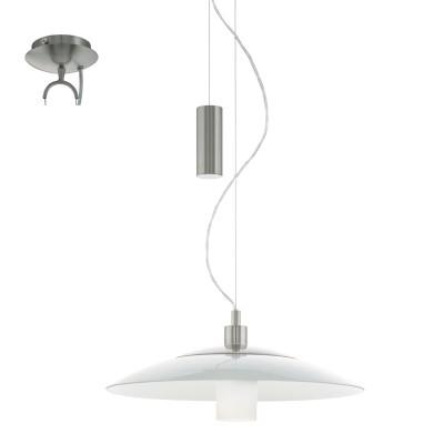 Eglo CABRAL 95462 Подвесной светильникОдиночные<br>Подвес CABRAL с регулир. высоты, 1х60W(E27), ?490, H930-1450, сталь, никель матовый/стекло, белый применяется преимущественно в домашнем освещении с использованием стандартных выключателей и переключателей для сетей 220V.<br><br>S освещ. до, м2: 3<br>Тип цоколя: E27<br>Цвет арматуры: серебристый никель<br>Количество ламп: 1<br>Диаметр, мм мм: 490<br>Высота, мм: 1100<br>MAX мощность ламп, Вт: 60