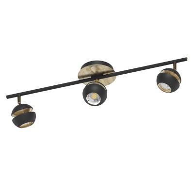 Eglo NOCITO 95484 Светодиодный спотТройные<br>Светодиодный спот NOCITO, 3x3,3W(GU10), L585, сталь, черный, золотой применяется преимущественно в домашнем освещении с использованием стандартных выключателей и переключателей для сетей 220V.<br><br>Тип лампы: LED - светодиодная<br>Тип цоколя: GU10<br>Количество ламп: 3<br>Ширина, мм: 105<br>MAX мощность ламп, Вт: 4<br>Длина, мм: 585<br>Цвет арматуры: Золотой