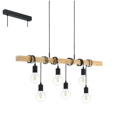 Eglo TOWNSHEND 95499 Подвесной светильникПодвесные<br>Подвес TOWNSHEND, 6х60W(E27), ?490, L1000, сталь, черный/дерево, коричневый применяется преимущественно в домашнем освещении с использованием стандартных выключателей и переключателей для сетей 220V.<br><br>S освещ. до, м2: 18<br>Тип цоколя: E27<br>Количество ламп: 6<br>MAX мощность ламп, Вт: 60<br>Длина, мм: 1000<br>Высота, мм: 1100<br>Цвет арматуры: черный