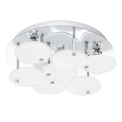 Eglo JURANDA 95518 Настенно-потолочный светильник LEDсовременные потолочные люстры модерн<br>Светодиодный потол. светильник JURANDA, 4х3W(GU10), ?330, нерж. сталь, хром/сатин. стекло, белый, прозрач. применяется преимущественно в домашнем освещении с использованием стандартных выключателей и переключателей для сетей 220V.<br><br>Установка на натяжной потолок: Да<br>S освещ. до, м2: 5<br>Тип лампы: LED - светодиодная<br>Тип цоколя: GU10<br>Цвет арматуры: серебристый хром<br>Количество ламп: 4<br>Диаметр, мм мм: 330<br>Высота, мм: 115<br>MAX мощность ламп, Вт: 3