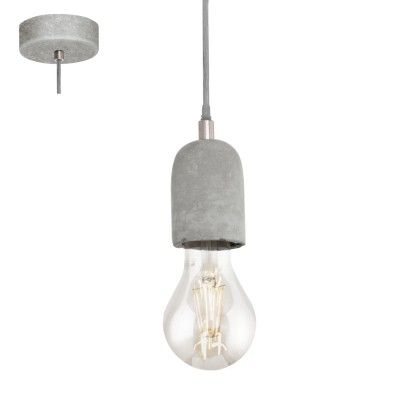 Eglo SILVARES 95522 Подвесной светильникОдиночные<br>Подвес SILVARES, 1х60W(E27), ?110, сталь, cерый/бетон, серый применяется преимущественно в домашнем освещении с использованием стандартных выключателей и переключателей для сетей 220V.<br><br>S освещ. до, м2: 3<br>Тип цоколя: E27<br>Количество ламп: 1<br>MAX мощность ламп, Вт: 60<br>Диаметр, мм мм: 110<br>Высота, мм: 1100<br>Цвет арматуры: серый