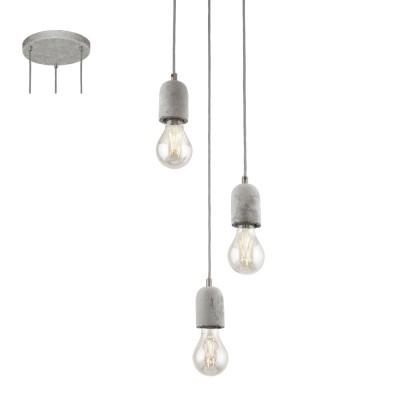 Eglo SILVARES 95523 Подвесной светильникТройные<br>Подвес SILVARES, 3х60W(E27), ?250, H1500, сталь, cерый/бетон, серый применяется преимущественно в домашнем освещении с использованием стандартных выключателей и переключателей для сетей 220V.<br><br>S освещ. до, м2: 9<br>Тип цоколя: E27<br>Цвет арматуры: серый<br>Количество ламп: 3<br>Диаметр, мм мм: 250<br>Высота, мм: 1500<br>MAX мощность ламп, Вт: 60