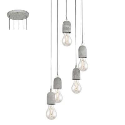 Eglo SILVARES 95524 Подвесной светильникПодвесные<br>Подвес SILVARES, 5х60W(E27), ?350, H1500, сталь, cерый/бетон, серый применяется преимущественно в домашнем освещении с использованием стандартных выключателей и переключателей для сетей 220V.<br><br>Установка на натяжной потолок: Да<br>S освещ. до, м2: 15<br>Тип лампы: Накаливания / энергосбережения / светодиодная<br>Тип цоколя: E27<br>Количество ламп: 5<br>MAX мощность ламп, Вт: 60<br>Диаметр, мм мм: 350<br>Высота, мм: 1500<br>Цвет арматуры: серый