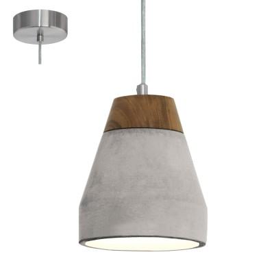 Eglo TAREGA 95525 Подвесной светильникОдиночные<br>Подвес TAREGA, 1х60W(E27), ?150, сталь, cерый/дерево, бетон, коричневый, серый применяется преимущественно в домашнем освещении с использованием стандартных выключателей и переключателей для сетей 220V.<br><br>S освещ. до, м2: 3<br>Тип цоколя: E27<br>Количество ламп: 1<br>MAX мощность ламп, Вт: 60<br>Диаметр, мм мм: 150<br>Высота, мм: 1100<br>Цвет арматуры: серый
