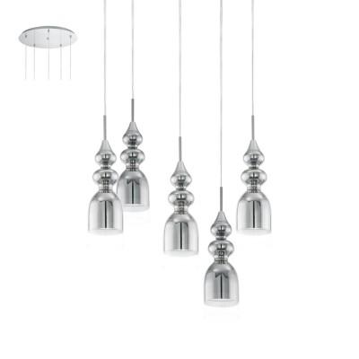 Eglo BOLANOS 95561 Подвесной светильниксовременные подвесные люстры модерн<br>Светодиодный подвес BOLANOS, 5х3,3W(LED), ?500, H1500, сталь, хром/стекло, хром, прозрачный применяется преимущественно в домашнем освещении с использованием стандартных выключателей и переключателей для сетей 220V.<br><br>Установка на натяжной потолок: Да<br>S освещ. до, м2: 8<br>Тип лампы: LED - светодиодная<br>Тип цоколя: GU10<br>Цвет арматуры: серебристый<br>Количество ламп: 5<br>Диаметр, мм мм: 500<br>Высота, мм: 1500<br>MAX мощность ламп, Вт: 4