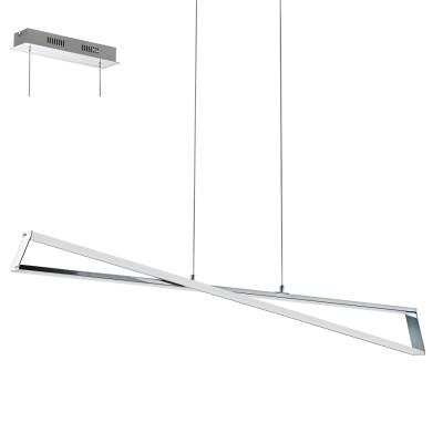 Eglo AGRELA 95566 Подвесной светильникСветодиодные<br>Светодиодный подвес AGRELA, 30W(LED), L1110, H1200, сталь, алюминий, хром/пластик, белый применяется преимущественно в домашнем освещении с использованием стандартных выключателей и переключателей для сетей 220V.<br><br>S освещ. до, м2: 11<br>Цветовая t, К: 3000<br>Тип лампы: LED - светодиодная<br>Тип цоколя: LED<br>Количество ламп: 2<br>Ширина, мм: 100<br>MAX мощность ламп, Вт: 14<br>Длина, мм: 1010<br>Высота, мм: 1200<br>Цвет арматуры: серебристый хром
