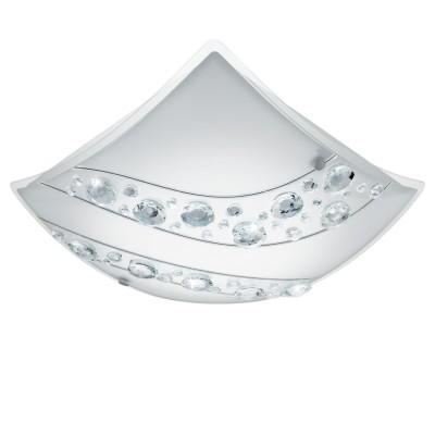 Eglo NERINI 95578 Настенно-потолочный светильникКвадратные<br>Светодиодный настенно-потолочный светильник NERINI, 16W(E27), 340х340, сталь, белый/стекло, хрусталь, белый, черн., прозрач. применяется преимущественно в домашнем освещении с использованием стандартных выключателей и переключателей для сетей 220V.<br><br>S освещ. до, м2: 6<br>Цветовая t, К: 4000<br>Тип лампы: LED - светодиодная<br>Тип цоколя: LED<br>Количество ламп: 1<br>Ширина, мм: 340<br>MAX мощность ламп, Вт: 16<br>Глубина, мм: 95<br>Длина, мм: 340<br>Цвет арматуры: белый