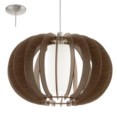 Eglo STELLATO 3 95591 Подвесной светильникОдиночные<br>Подвес STELLATO 3, 1X60W (E27), ?400, сталь, никель матовый/дерево, стекло, коричневый, белый применяется преимущественно в домашнем освещении с использованием стандартных выключателей и переключателей для сетей 220V.<br><br>S освещ. до, м2: 3<br>Тип цоколя: E27<br>Цвет арматуры: серебристый никель<br>Количество ламп: 1<br>Диаметр, мм мм: 400<br>Высота, мм: 1100<br>MAX мощность ламп, Вт: 60