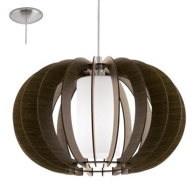 Eglo STELLATO 3 95592 Подвесной светильникОдиночные<br>Подвес STELLATO 3, 1х60W (E27), ?500, H1500, сталь никель матовый/дерево, стекло, коричневый применяется преимущественно в домашнем освещении с использованием стандартных выключателей и переключателей для сетей 220V.<br><br>S освещ. до, м2: 3<br>Тип цоколя: E27<br>Цвет арматуры: серебристый никель<br>Количество ламп: 1<br>Диаметр, мм мм: 500<br>Высота, мм: 1500<br>MAX мощность ламп, Вт: 60