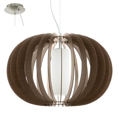 Eglo STELLATO 3 95593 Подвесной светильникОдиночные<br>Подвес STELLATO 3, 1х60W(E27), ?700, H1500, сталь никель матовый/дерево, стекло, коричневый, белый применяется преимущественно в домашнем освещении с использованием стандартных выключателей и переключателей для сетей 220V.<br><br>S освещ. до, м2: 3<br>Тип лампы: Накаливания / энергосбережения / светодиодная<br>Тип цоколя: E27<br>Количество ламп: 1<br>MAX мощность ламп, Вт: 60<br>Диаметр, мм мм: 700<br>Высота, мм: 1500<br>Цвет арматуры: серебристый никель