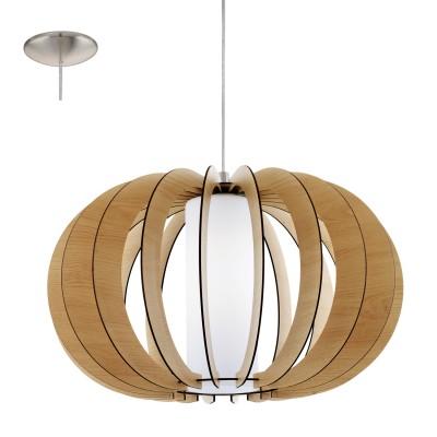 Eglo STELLATO 1 95599 Подвесной светильникОдиночные<br>Подвес STELLATO 1, 1х60W (E27), ?500, H1500, сталь никель матовый/дерево, стекло, клен применяется преимущественно в домашнем освещении с использованием стандартных выключателей и переключателей для сетей 220V.<br><br>S освещ. до, м2: 3<br>Тип цоколя: E27<br>Цвет арматуры: серебристый<br>Количество ламп: 1<br>Диаметр, мм мм: 500<br>Высота, мм: 1500<br>MAX мощность ламп, Вт: 60