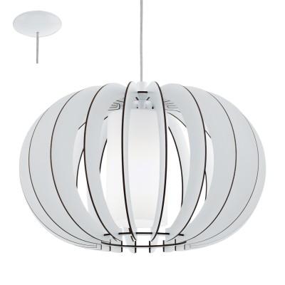 Eglo STELLATO 2 95606 Подвесной светильникОдиночные<br>Подвес STELLATO 2, 1X60W (E27), ?400, сталь, белый/дерево, стекло, белый применяется преимущественно в домашнем освещении с использованием стандартных выключателей и переключателей для сетей 220V.<br><br>S освещ. до, м2: 3<br>Тип цоколя: E27<br>Количество ламп: 1<br>MAX мощность ламп, Вт: 60<br>Диаметр, мм мм: 400<br>Высота, мм: 1100<br>Цвет арматуры: белый