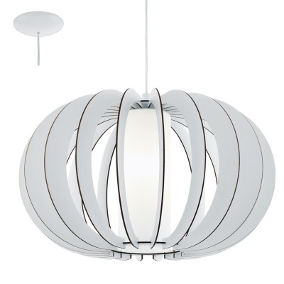 Eglo STELLATO 2 95607 Подвесной светильникОдиночные<br>Подвес STELLATO 2, 1х60W (E27), ?500, H1500, сталь никель матовый/дерево, стекло, белый применяется преимущественно в домашнем освещении с использованием стандартных выключателей и переключателей для сетей 220V.<br><br>S освещ. до, м2: 3<br>Тип лампы: Накаливания / энергосбережения / светодиодная<br>Тип цоколя: E27<br>Цвет арматуры: белый<br>Количество ламп: 1<br>Диаметр, мм мм: 500<br>Высота, мм: 1500<br>MAX мощность ламп, Вт: 60