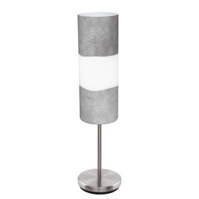Eglo LAGONIA 95618 Настольная лампаСовременные<br>Наст. лампа LAGONIA, 1х60W(E27), ?120, H460, сталь, никель мат./cатин. стекло, серый, белый, под бетон применяется преимущественно в домашнем освещении с использованием стандартных выключателей и переключателей для сетей 220V.<br><br>Тип товара: Настольная лампа<br>Тип цоколя: E27<br>Количество ламп: 1<br>MAX мощность ламп, Вт: 60<br>Диаметр, мм мм: 120<br>Высота, мм: 460<br>Цвет арматуры: никель матовый