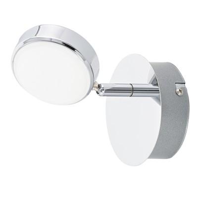 Eglo SALTO 95628 Светодиодный спотодиночные споты<br>Светодиодный спот SALTO, 1x5,4W(LED), ?110, сталь, хром/пластик, матовый применяется преимущественно в домашнем освещении с использованием стандартных выключателей и переключателей для сетей 220V.<br><br>S освещ. до, м2: 2<br>Цветовая t, К: 3000<br>Тип лампы: LED - светодиодная<br>Тип цоколя: LED<br>Цвет арматуры: серебристый хром<br>Количество ламп: 1<br>Диаметр, мм мм: 110<br>MAX мощность ламп, Вт: 5