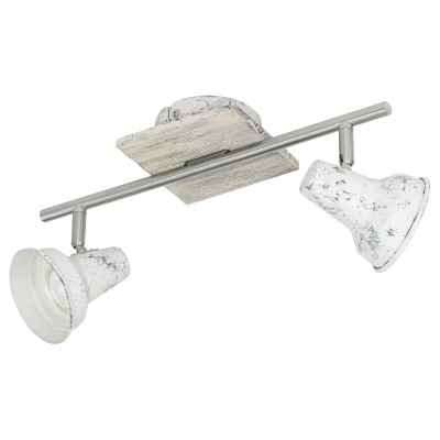 Eglo FILIPINA 1 95643 Светильник спотДвойные<br>Светодиодный cпот FILIPINA 1, 2x3,3W(GU10), L360, сталь, дерево, белый, никель матовый применяется преимущественно в домашнем освещении с использованием стандартных выключателей и переключателей для сетей 220V.<br><br>Тип лампы: LED - светодиодная<br>Тип цоколя: GU10<br>Количество ламп: 2<br>Ширина, мм: 120<br>MAX мощность ламп, Вт: 3<br>Длина, мм: 360<br>Цвет арматуры: серебристый