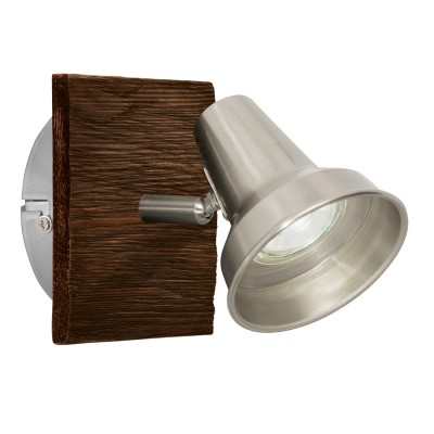 Eglo FILIPINA 95646 Светильник спотОдиночные<br>Светодиодный cпот FILIPINA, 1x3,3W(GU10), 120х120, сталь, дерево, коричневый, никель матовый применяется преимущественно в домашнем освещении с использованием стандартных выключателей и переключателей для сетей 220V.<br><br>Тип лампы: LED - светодиодная<br>Тип цоколя: GU10<br>Количество ламп: 1<br>MAX мощность ламп, Вт: 3<br>Длина, мм: 120<br>Высота, мм: 120<br>Цвет арматуры: коричневый, никель матовый