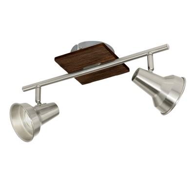 Eglo FILIPINA 95647 Светильник спотДвойные<br>Светодиодный cпот FILIPINA, 2x3,3W(GU10), L360, сталь, дерево, коричневый, никель матовый применяется преимущественно в домашнем освещении с использованием стандартных выключателей и переключателей для сетей 220V.<br><br>S освещ. до, м2: 3<br>Тип лампы: LED - светодиодная<br>Тип цоколя: GU10<br>Цвет арматуры: коричневый, никель матовый<br>Количество ламп: 2<br>Ширина, мм: 120<br>Длина, мм: 360<br>MAX мощность ламп, Вт: 3